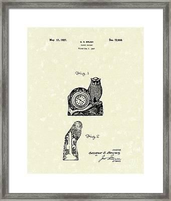 Clock Casing 1927 Patent Art Framed Print