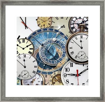 Clock Faces Framed Print by Victor De Schwanberg