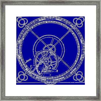 Clock Gears Blueprint Framed Print