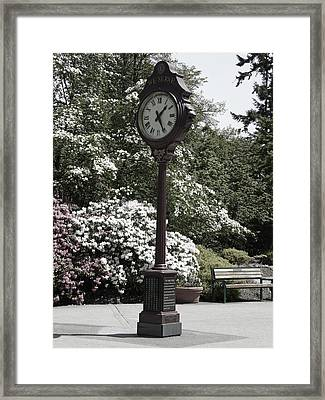Framed Print featuring the photograph Clock In Park Muted by Laurie Tsemak