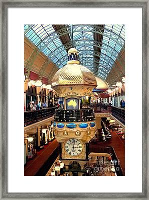 Clock In Sydney Mall Framed Print by John Potts