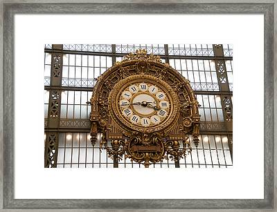 Clock In The Musee D'orsay. Paris. France Framed Print by Bernard Jaubert