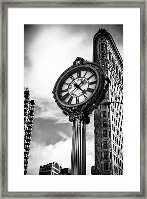 Clock Of Fifth Avenue Building Framed Print