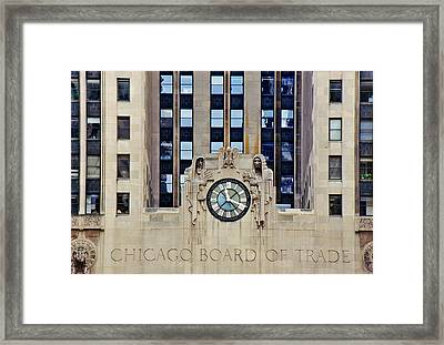 Clock On The Chicago Board Of Trade Framed Print