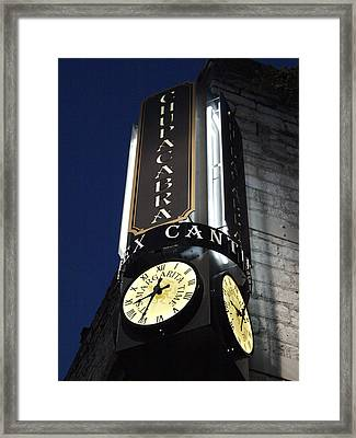 Clock Sign Chupacabra Cantina Framed Print by James Granberry
