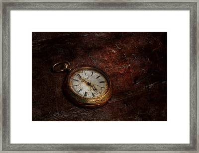 Clock - Time Waits Framed Print by Mike Savad