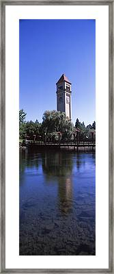 Clock Tower At Riverfront Park Framed Print by Panoramic Images
