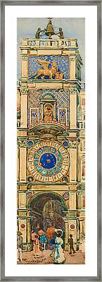 Clock Tower In Saint Mark's Square Venice Framed Print
