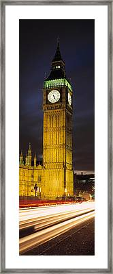 Clock Tower Lit Up At Night, Big Ben Framed Print by Panoramic Images
