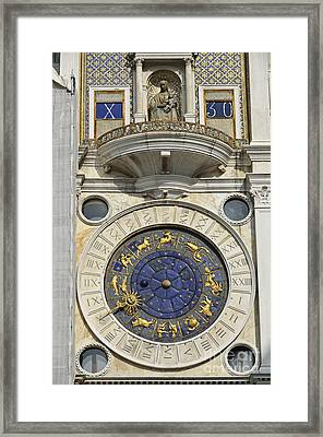 Clock Tower On Piazza San Marco Framed Print by Sami Sarkis