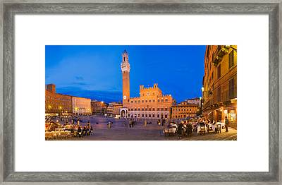 Clock Tower With A Palace In A City Framed Print by Panoramic Images