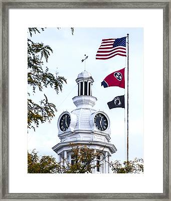 Clock Tower With Tennessee Mia Us Flag Art Framed Print