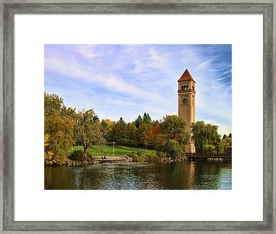 Clocktower And Autumn Colors Framed Print