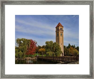 Clocktower Fall Colors Framed Print