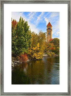 Clocktower In Fall Framed Print