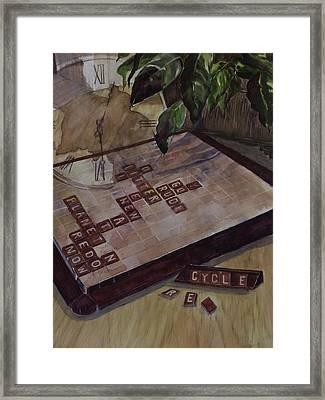 Clockwise Green Framed Print by Janet Felts
