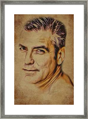 Clooney On Brown Background Framed Print by Yury Malkov