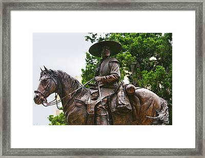 Close Bronze Sculpture Of Early Texas Cowboy Framed Print by Linda Phelps