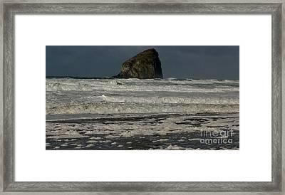 Framed Print featuring the photograph Close Haystack Rock by Susan Garren