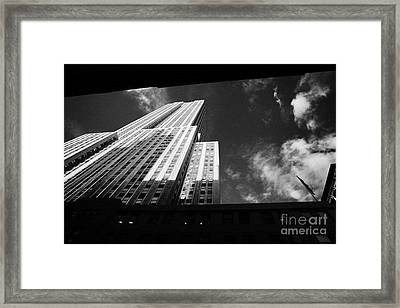 Close In Shot Of The Empire State Building New York City Framed Print by Joe Fox