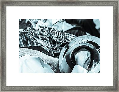Close Of Male Playing French Horn And Hand Muting Framed Print