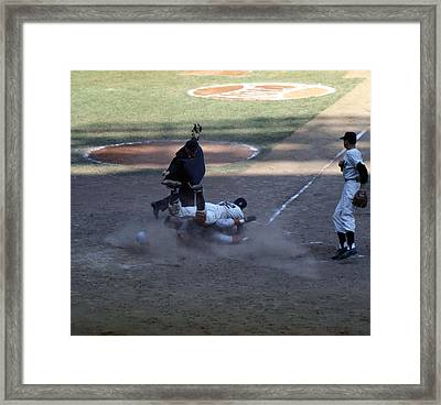 Close Play At The Plate  Framed Print by Retro Images Archive
