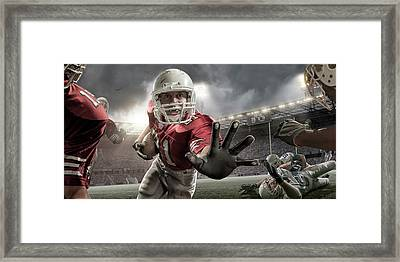 Close Up American Football Action Framed Print by Peepo