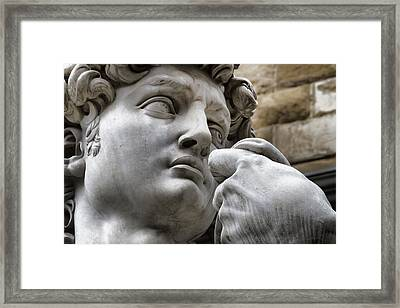 Close-up Face Statue Of David In Florence Framed Print