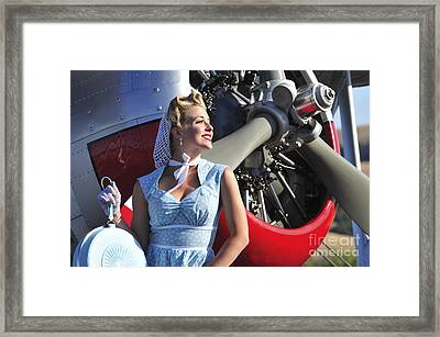 Close-up Of A 1940s Style Pin-up Girl Framed Print by Christian Kieffer