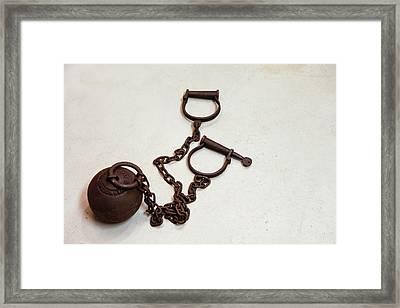 Close Up Of A Ball And Chain Shackles Framed Print