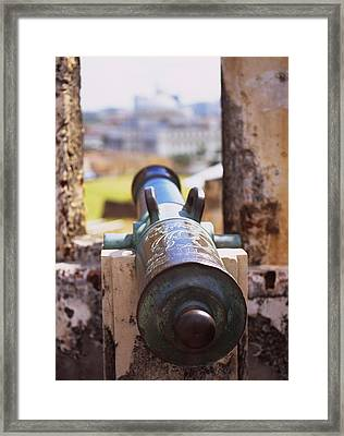 Close-up Of A Cannon At A Castle Framed Print