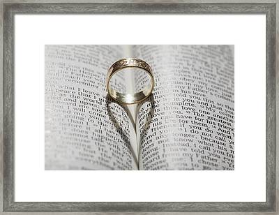 Close Up Of A Gold Ring With The Shadow Framed Print by Michael Interisano