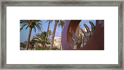 Close-up Of A Hand Sculpture, Sitges Framed Print by Panoramic Images