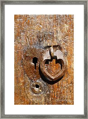 Close Up Of A Heart Shaped Lock On A Door In The Village Of Abyaneh In Iran Framed Print by Robert Preston