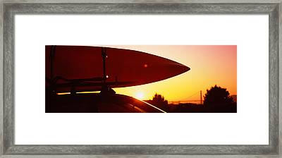 Close-up Of A Kayak On A Car Roof Framed Print