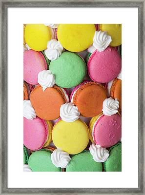 Close Up Of A Macaron Tower Framed Print by Julien Mcroberts