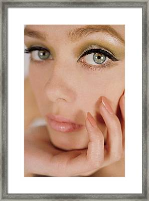 Close Up Of A Model Framed Print by Gene Laurents