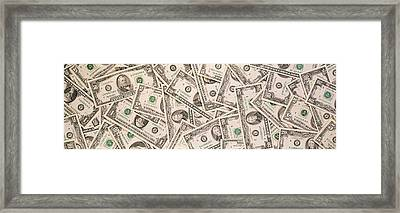 Close-up Of A Pile Of Us Dollar Bills Framed Print