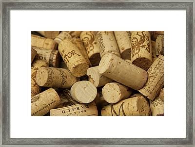 Close-up Of A Pile Of Wine Cork Framed Print by Bill Bachmann