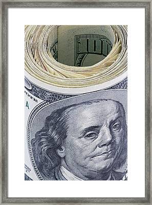 Close-up Of A Roll Of Us $100 Bills Framed Print