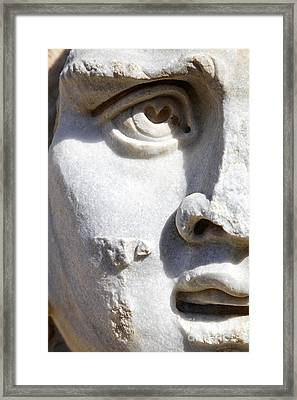 Close Up Of A Sculpted Medusa Head At The Forum Of Severus At Leptis Magna In Libya Framed Print