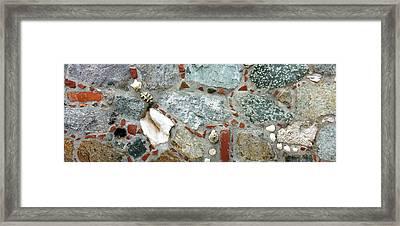 Close-up Of A Stone Wall, St. John, Us Framed Print