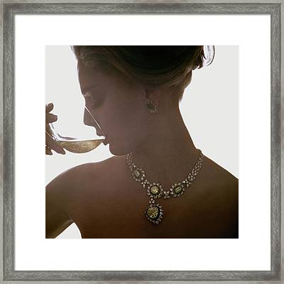 Close Up Of A Young Woman Wearing Jewelry Framed Print