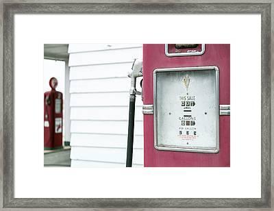 Close Up Of Antique Gas Pump, Dwight Framed Print by Julien Mcroberts