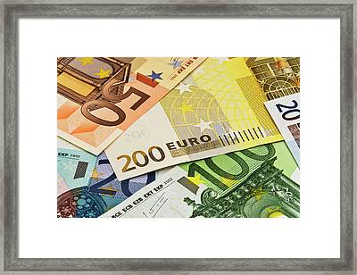 Close-up Of Assorted Euro Paper Currency Framed Print by Jaynes Gallery
