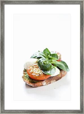 Close Up Of Bread With Cheese And Tomato Framed Print by Henn Photography