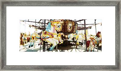 Close-up Of Carousel Horses, Coney Framed Print