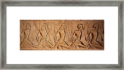 Close-up Of Carvings On A Wall, Great Framed Print