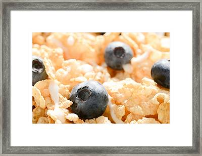 Close Up Of Cereal With Blueberries And Milk Framed Print