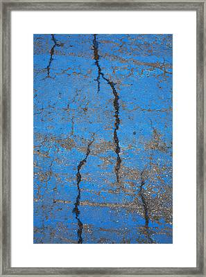 Close Up Of Cracks On A Blue Painted Framed Print by Perry Mastrovito